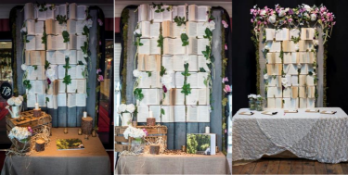 1 x 8ft Tall Display Wall Backdrop Adorned With Books - Dimensions: 8ft x 4ft