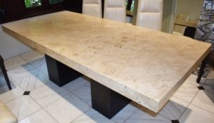 1 x Designer Dining Table by Stone Italia - Gorgeous Tivoli Silver Travertine Stone Table Top With