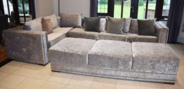 1 x Bespoke Handcrafted Corner Sofa With Ottoman Storage Footstool