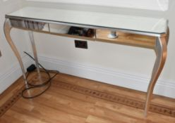 1 x Mirrored Console Table With Elegant Tapered Legs and Glass Mirror Panels - Size: H86 x W155 x