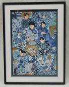 1 x FRATO Designer Framed Printed Artwork On Fabric Depicting Ladies In Blue - Dimensions: H112 x