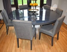 1 x Contemporary Dining Table With Six Chairs - Wenge Wood Round Table With Glass Protector and