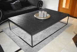 1 x Designer Guadarte Coffee Table With Faux Crocodile Skin Leather Finish - Large Size H45 x W200 x