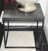 Pair of Designer Guadarte Lamp Tables With Faux Crocodile Skin Leather Finish - Size H56 x W60 x D60