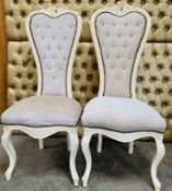 Pair of Cream Love Heart Thrones - Damage To One Chair - See Pictures - Dimensions: 130cm (h) x 57cm