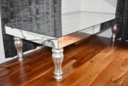1 x Mirrored Coffee Table With Turned Legs in Silver - Size H50 x W181 x D91 cms - CL546 - Location: