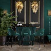 1 x EICHHOLTZ 'Bolton' Opulent Art-Deco Black Glass Topped Bar Unit, Upholstered In Green Velvet -