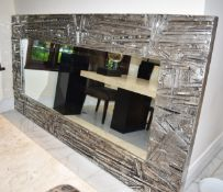 1 x Abstract Artisian Wall Mirror With Mosiac Mirrored Inserts - Fantastic Focal Piece For Your Home