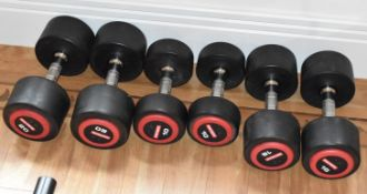 3 x Sets of Escape Polyurethane Dumbell Weights - Includes Pairs of 10kg, 16kg and 20kg Dumbells - 6