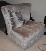 1 x Designer Delhom Lounge Chair With Studded Detail, Chrome Feet and Veluptuously Soft Fabric