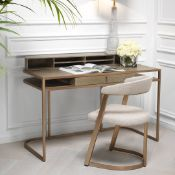 1 x EICHHOLTZ 'Highland' Designer Desk With Washed Oak And Brushed Brass Finishes - Ex-Display -