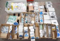 1 x Assorted Notice Sign Pallet Lot - Features Metal, Plastic and Stick On Signs For Toilets,