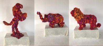 3 x Floral Animals - 1 Elephant / 1 Horse / 1 Lion - CL548 - Location: Near Market Harborough