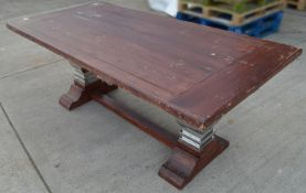 1 x Sturdy 2 Metre Georgian-Style Solid Wood Dining Table In A Dark Stain With A Chromed Base