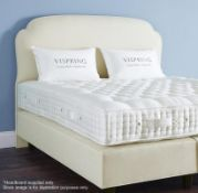 1 x VISPRING 'Eccleston' Luxury King Size Upholsted Headboard In A Premium Light Cream Fabric - Hand