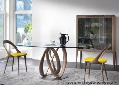 1 x PORADA 'Infinity' 2-Metre Designer Dining Table With Elliptical Glass And Canaletta Walnut Base