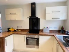 1 x Fitted Kitchen With Gloss White Units, Laminate Worktops & Branded Appliances - Preowned