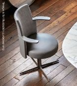 1 x POLTRONA FRAU 'Jeff' Designer Swivel Chair With Arms - Upholstered In Leather And Premium Fabric