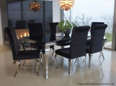 1 x Elegant Black Glass Topped Dining Table + 6 x Chairs - Preowned - Original Price £1,260 - NO VAT