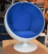 1 x White Gloss Ball Swivel Fibreglass Chair - No VAT on the Hammer - Size H120 x W107 x D100
