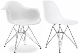 A Set Of 6 x Eames-Style Dining Chairs in White - Includes 2 x Carvers - Classic Design With Deep