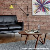 1 x HOXTON Industrial-style Floor Lamp In Black With A Contrasting Yellow Shade- New Boxed