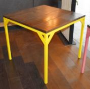 2 x Dining Tables With Bright Yellow Steel Bases and Wooden Panelled Tops - Size: H77 W85 x D85 cms