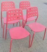 4 x Emu Branded Italian Made Outdoor Metal Stackable Bistro Chairs In Magenta (Hot Pink)