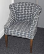 10 x Club Chairs Upholstered in Blue Fabric With Studded Detail - Ideal For Clubs, Pubs or