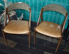 2 x Dining Chairs With Bent Wood Frames, Tan Seats and Fabric Backrests - Ref: RB153 - CL558 -