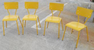 4 x Rustic Commercial Bistro Chairs In Bright Yellow - Dimensions: W40 x D48 x H79, Seat 46cm