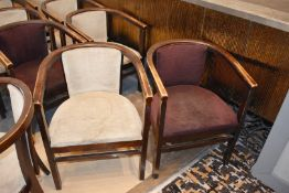 15 x Wooden Dining Tub Chairs - Dark Stained Finish With Cream and Purple Upholstery - Ideal For