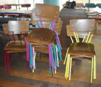 12 x Dining Chairs With Wooden Seats, Wooden Back Rests and Various Coloured Metal Frames - Ref: