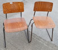 12 x Commercial Stackable Chairs With Attractive Wooden Seats And Back Panels On Sturdy Metal Frames
