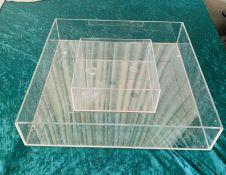 2 x Aquare Transparent Acrylic Trough For Displays - Dimensions: 50x50cm - Ref: Lot 17 - CL548 -