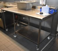 1 x Stainless Steel Prep Table With Undershelf and Castors - Size H99 x W184 x D91 cms - Ref: