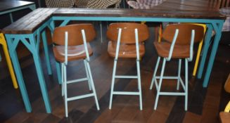 1 x Corner Eating Bench With Blue Steel Base, Panelled Wood Top and 5 x Stools in Blue and