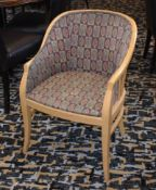 8 x Light Wooden Dining Tub Chairs With Leaf Design Upholstery - Ideal For Conservatories, Clubs,