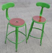 A Pair Of Genuine Nicolle® French Metal Stools In Glossy Green, With Seat Pads - Original Price £600