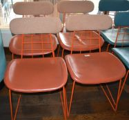 4 x Contemporary Dining Chairs in Orange and Brown - Ref: RB141 - CL558 - Location: Altrincham