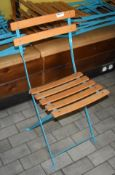 6 x Outdoor Folding Chairs in Blue With Wood Seats and Backrests - Unused - Ref: RB177 - CL558 -