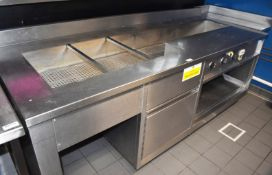 1 x Bespoke Stainless Steel Baine Marie Food Warmer Prep Unit - 230v - Large Size - H90 x W234 x