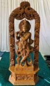 1 x Wooden Krishna Statue - Dimensions: 100x40cm - Ref: Lot 12 - CL548 - Location: Leicester