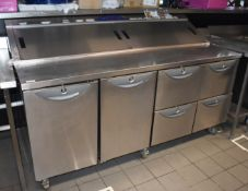1 x Williams Onyx CPC4 Prep Station With 835l Undercounter Door/Drawer Storage and 10 11/3GN