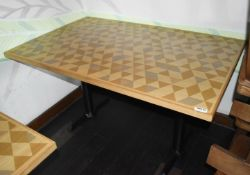 1 x Large Dining Table With Wooden Top, Cast Metal Base and Geometric Design - Size H77 x W140 x D90
