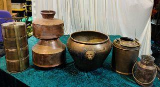 5 x Assorted Metal Indian Pots - Dimensions: Mixed - Ref: Lot 89 - CL548 - Location: Near Market