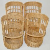5 x Traditional French Bread Bagette Wicker Baskets - Dimensions: Diameter 45cm / Height 63cm - New