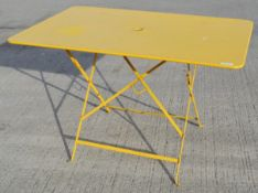 1 x Rustic Metal Folding Commercial Bistro Table In Bright Yellow - Made In France - Dimensions: