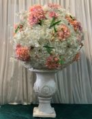 2 x White/Peach Statements - Vase NOT Included - Dimensions: 65cm - Ref: Lot 69 - CL548 -
