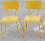 4 x Rustic Commercial Bistro Chairs In Bright Yellow - Dimensions: W40 x D48 x H79, Seat 46cm - Ref: